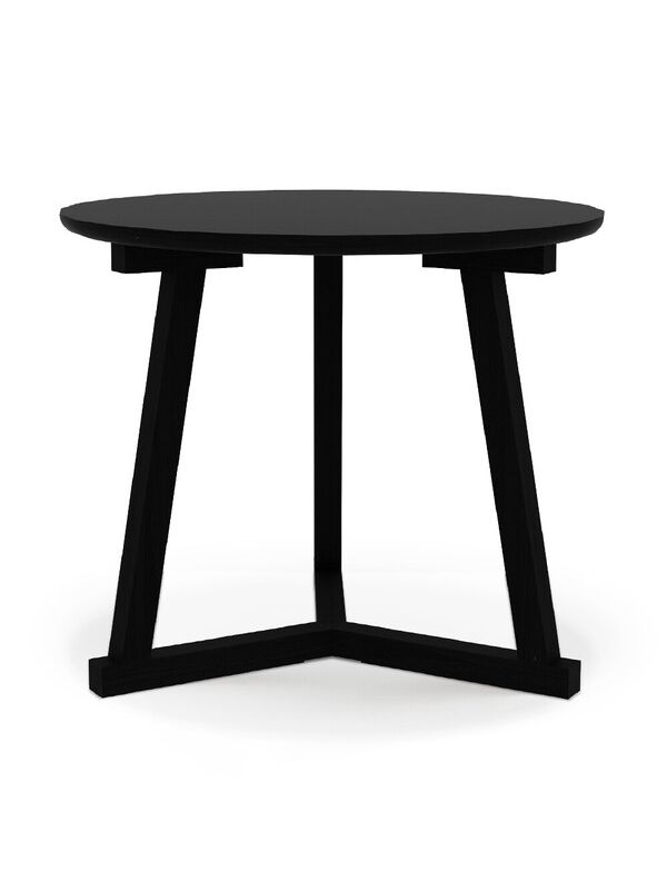 Oak Tripod Black Side Table - Large