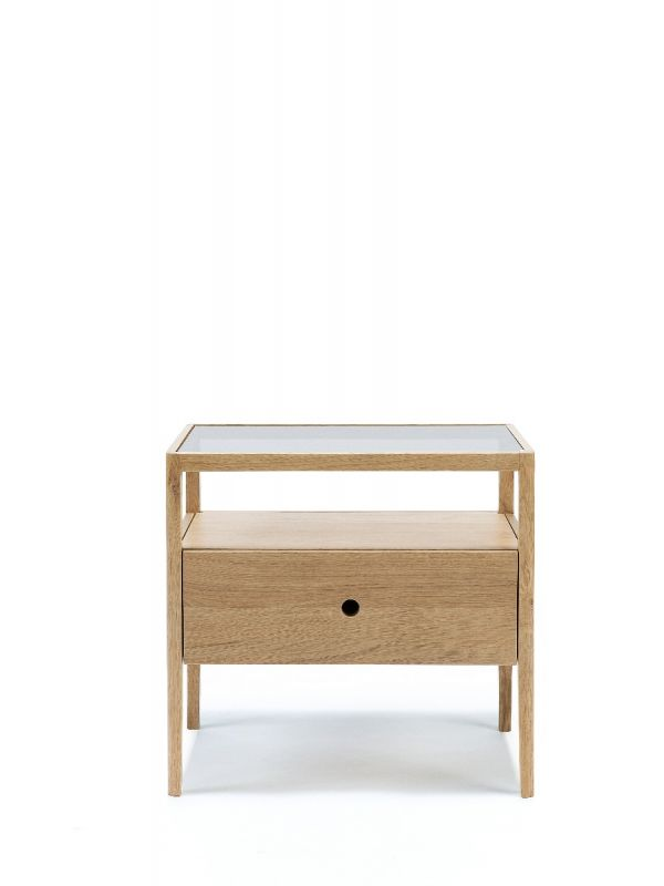 Oak Spindle Bedside Table
