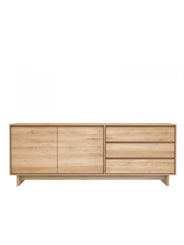 Oak Wave Sideboard - 2 Doors, 3 Drawers